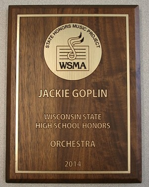 WSMA High School State Honors Plaque