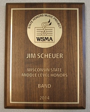 WSMA Middle Level State Honors Plaque